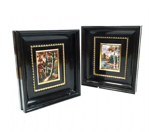 Framed Enamel on Copper E J Guitard of Limoges, France, Painting Pair c.1970